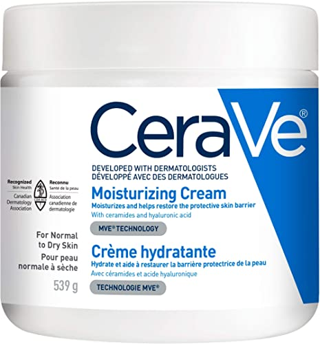 CeraVe Moisturizing Cream | Daily Face and Body Moisturizer for Dry Skin With Hyaluronic Acid | Fragrance Free, 539 G...