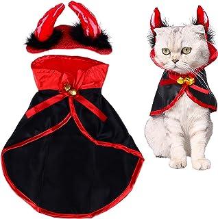 LOCOLO Cat Christmas Costume,1 Piece Pet Cloak Red Black Pet Cape 1 Piece Horn Headdress Cat Cape Pet Mantle with 2 Piece ...