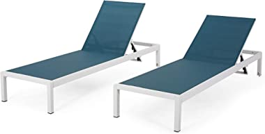 Christopher Knight Home Vicky Coral Outdoor Chaise Lounges (Set of 2), Blue and White