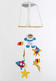 Astronaut Baby Crib Mobile with Handle | Nursery Baby Room Decor | Astronaut Felt Baby Boy or Girl Mobile for Bassinet | Finger Puppet Included | Ideal for 3-18 Months