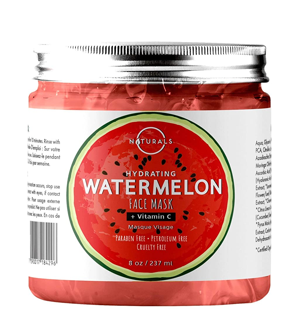 O Naturals Hydrating Watermelon & Vitamin C Gel Face Mask. Nourishing, Moisturizing & Toning. Great for Combination Skin, w/Hyaluronic Acid Rich in Vitamins A & C & B6. Anti-Aging, Antioxidants. 8 Oz