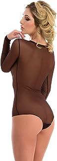 diversi colori e taglie Magi Body da donna a maniche lunghe con scollo rotondo body basic con maniche lunghe in tulle trasparente