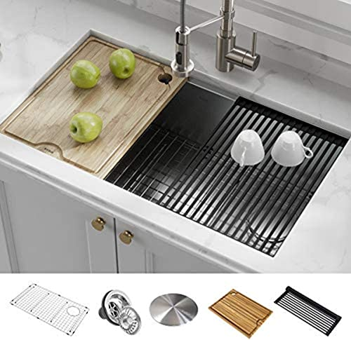 "Kraus KWU110-32 Kore Kitchen Single Bowl, 32 Inch, 32""- Workstation Sink"