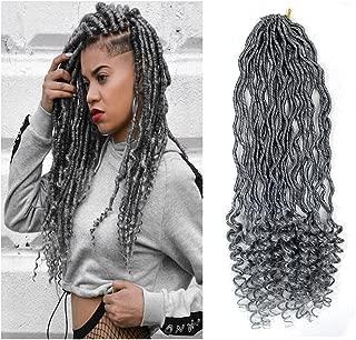 6Packs Goddess Locs Crochet Braids Gray Wavy Faux Locs Crochet Hair Curly Ends Dreadlocks Synthetic Braiding Hair Extensions (18