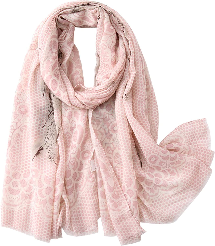 DuoYo Feather Pattern Print Long Scarf Fashion Scarf Tassel Shawl for Women