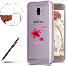 Phone Case for Galaxy 2017  Galaxy 2017 J330 Pink Case Silicone  Uposao Galaxy 2017 Uposao Flexible Clear Transparent TPU Bumper Soft Case Cherry Blossom Pink