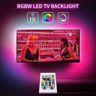 TV Led Backlight USB Powered 5V RGBW Led Light Strip 13ft TV Lights 16 Colors Changing Led Strip Lights with Remote Bias Lighting for 60-70in HDTV Theater Bedroom Kitchen Under Counter Bar Decor