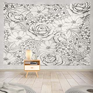 Geericy Pattern Tapestry, Wall Hanging Tapestry Gray Flower Floral White Black Rose Vintage Wall Tapestry Dorm Home Decor Bedroom Living Room in 80X60L(