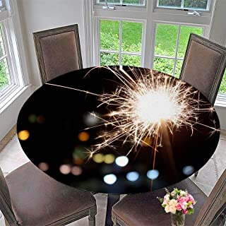 "Mikihome Elasticized Table Cover Sparks in The Night Machine Washable 40""-43.5"" Round (Elastic Edge)"
