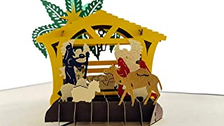 iGifts And Cards Unique Christmas Three Kings Nativity 3D Pop Up Greeting Card – Baby Jesus, Holy Mary, St. Joseph, Stable, Sheep, Camel, Manger, Angels, Wise Men, Bright Star, Savior, Half-fold