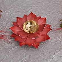 Collectible India Lotus Kuber Diya Puja Oil Lamp - Traditional Lotus Kamal Diya for Diwali - Brass Akhand Diya Jyot Deepak -Home Temple Puja Articles Decor (Red)