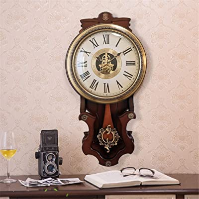 American Wooden Copper Plated Vintage Hanging Watch, European Style Retro Vintage Clock Non - Ticking
