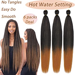 MYCHANSON Pre-stretched Braiding Hair Professional Itch Free Synthetic Fiber Corchet Braids Yaki Texture Hair Extensions EASY Braid 6 packs 26 Inch Brown to Light Brown