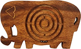 Elephant Labyrinth Board Game - Crafkart Wooden Labyrinth Puzzle Maze Game in Elephant Shape - Gifts Boys, Girls, Kids & Adults