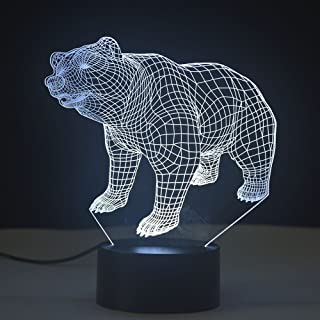 3D Lamp Optical Illusion Night Light 7 Color Changing Touch Table Desk Lamps with USB Cable for Birthday Gifts for Boys Home Decor Lamp (Bear)