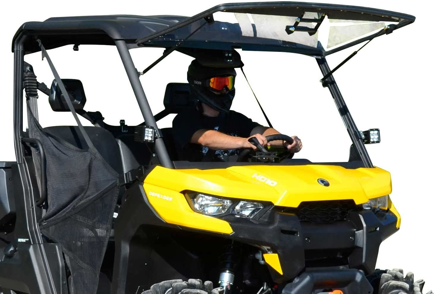SuperATV Scratch Resistant 3-in-1 Flip Windshield for 2016+ Can Am Defender HD5 / HD8 / HD10 | 1/4