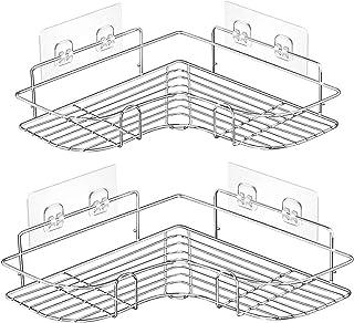 浴室ラック お風呂 ラック 収納ラック シャワーラック コーナーラック【2個セット】 強力粘着固定 耐荷重15KG 取り外し可能なフックで、穴あけの必要なし ステンレス製 浴室収納 台所収納 バスルーム整理