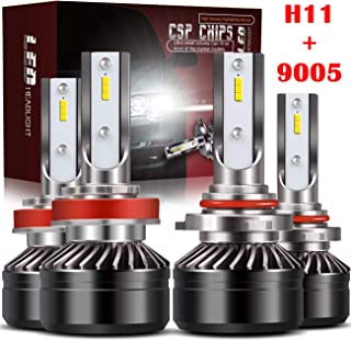 TURBOSII Extremely Bright 9005/HB3 High Beam H11/H8/H9 Low Beam Combo LED Headlight Bulbs Conversion Kit, DOT Approved D6 Series CSP Chips, 12000LM 6000K Cool White (4Pack,2 sets,Black)