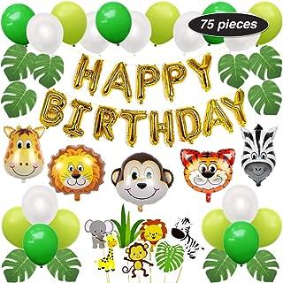 PartyBuzz Jungle Safari Theme Party Supplies - 75 Pack Birthday Decoration Kit - Happy Birthday Banner, Zoo Cupcake Toppers, Wild Animal Balloons - Monkey Giraffe Zebra Lion Tiger