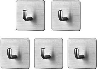 Self Adhesive Hook - Heavy Duty Hook, Brushed 304 Stainless Steel, Waterproof Wall Hanger, Stick on Hook Hanging Towel Robe Coat Bag Cap Key, Bathroom Bedroom Kitchen Organizer Sticky Hook (S3-5pack)