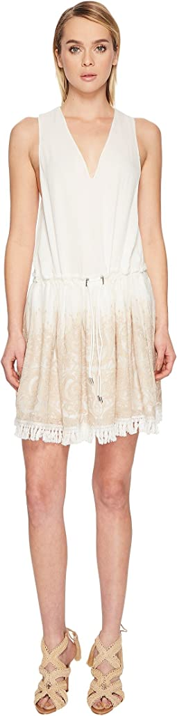 Embroidered Silk Crinkle Mini Dress Cover-Up