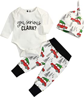 3Pcs Newborn Baby Christmas Pajamas Xmas Car Romper Pants+Xmas Hat Coming Home Outfits Set
