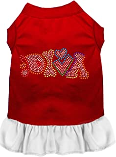 Mirage Pet Products 57-64 XLRDWT White Technicolor Diva Rhinestone Pet Dress Red with, X-Large