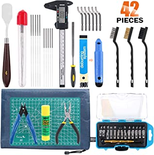 Rustark 42 Piece 3D Print Tool Kit Includes Debur Tool, Cleaning and Removal Tool with Storage Bag, 3D Printer Tool Set for Cleaning, Finishing and Printing 3D Prints