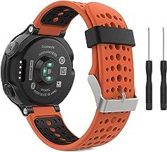 MoKo Garmin Forerunner 235 Watch Band, Soft Silicone Replacement Watch Band for Garmin Forerunner 235/235 Lite / 220/230 / 620/630 / 735XT - Orange & Black
