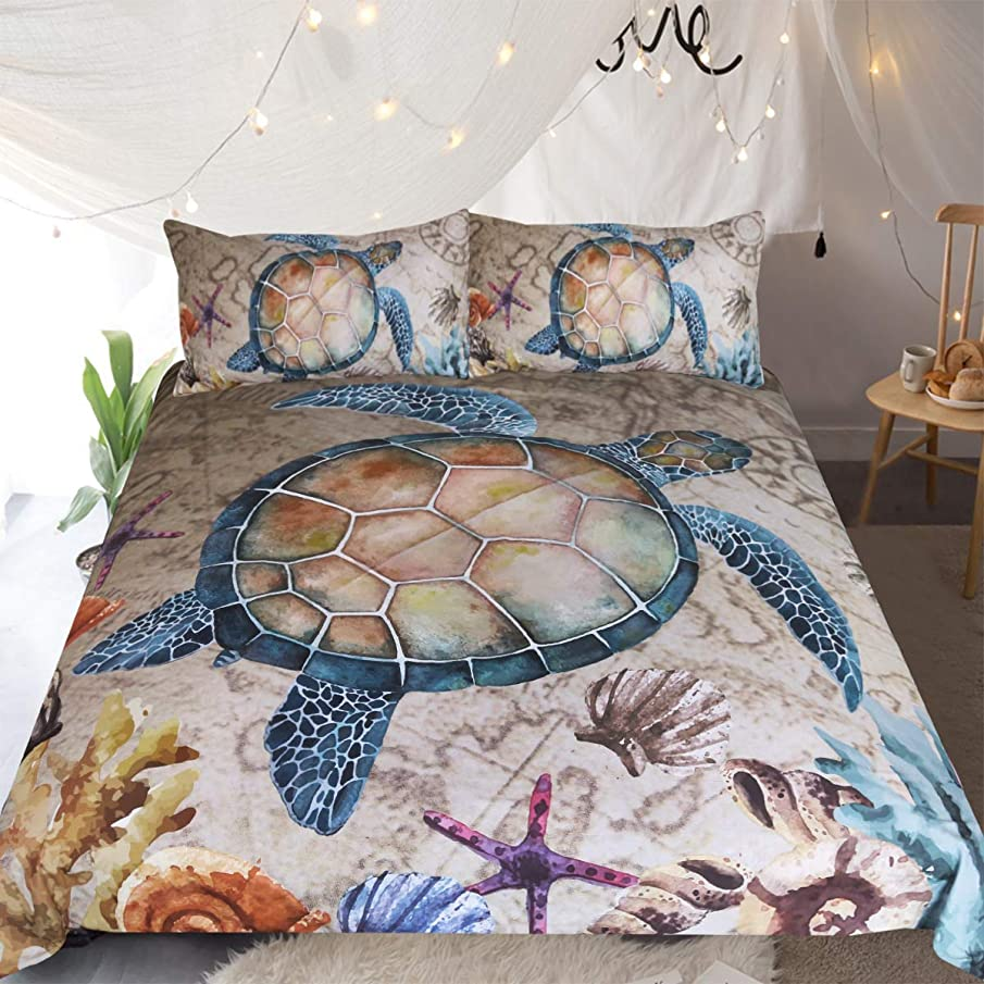 Sleepwish Marine Treasures Vintage Map Bedding 3 Pieces Blue Sea Turtle Duvet Cover Starfish Coral Reef Coastal Bedspread Queen