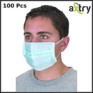 Axtry Medical, Surgical & Hospital Disposable Anti-Pollution Non Woven Face Mask For Men, Women, Medical Grade, Food Industries, Factory and General Purpose Face Mask 2 Ply Elastic 100 Pcs, Blue