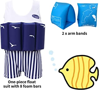 Wowelife Float Suit Baby Upgraded One-Piece Buoyancy Swimsuit with Arm Bands Learn to Swimming for Boys and Girls, 1-3 Years