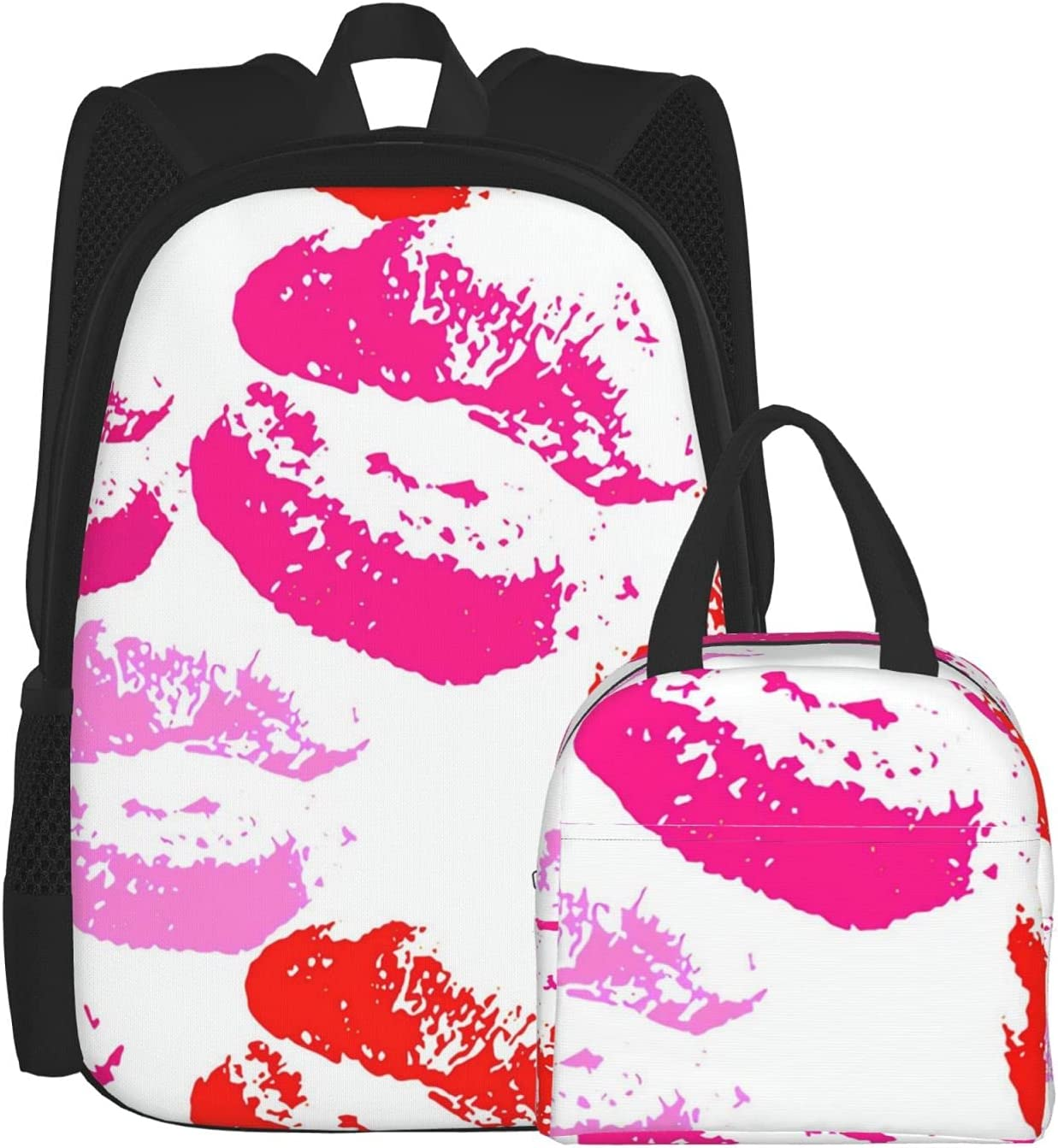 Lunch Bag And Backpack Set Unisex 25% OFF Red San Diego Mall Lips Lar Comfortable Pink
