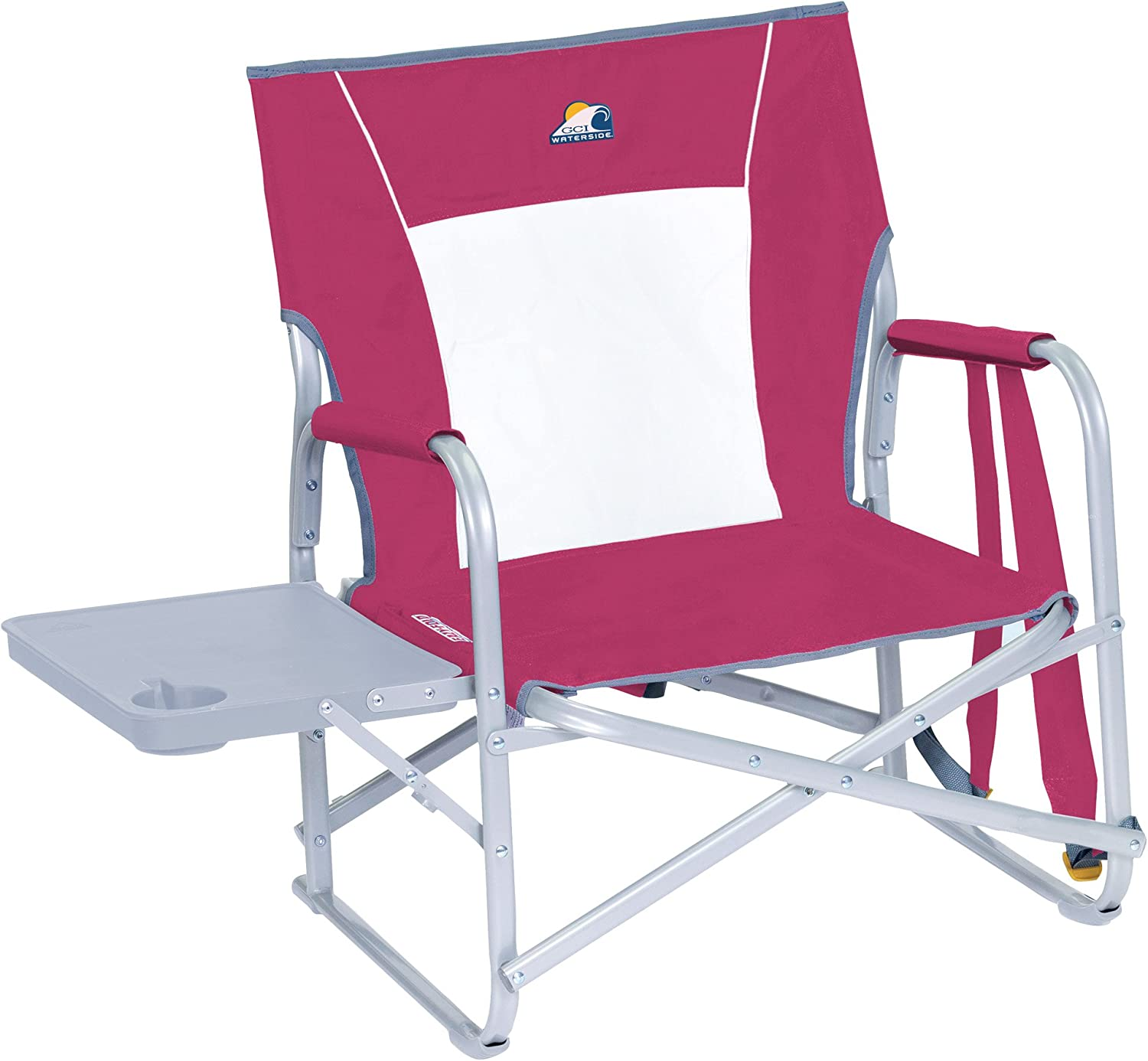 GCI Waterside Slim-Fold Backpack Beach Chair with Side Table