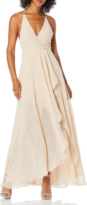 Jenny Yoo Women's Farrah Halter Faux Wrap Chiffon Dress