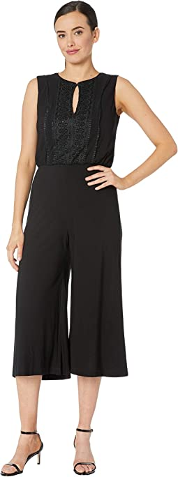 Sleeveless Keyhole Solid Cropped Jumpsuit