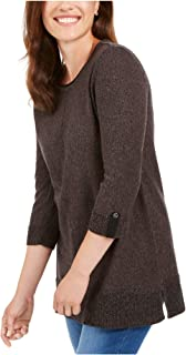 KAREN SCOTT Womens Black 3/4 Sleeve Crew Neck Sweater AU Size:6