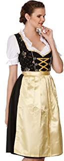Lukas Dirndl Authentic Bavarian Trachten Dirndl Dress 3-Pieces with Apron and Blouse - 1216