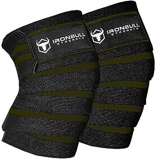"""Iron Bull Strength Knee Knaps (1 Pair) - پشتیبانی و فشرده سازی زانو و آرنج 80 """"الاستیک و وزنه برداری - برای وزنه برداری ، وزنه برداری ، تناسب اندام ، WOD و تمرین بدنسازی - تسمه زانو برای اسکوات"""