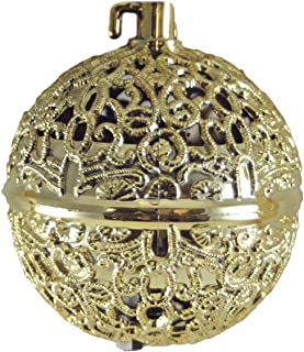 Chirping Bird Gold-colored Ball Hanging Christmas Ornament