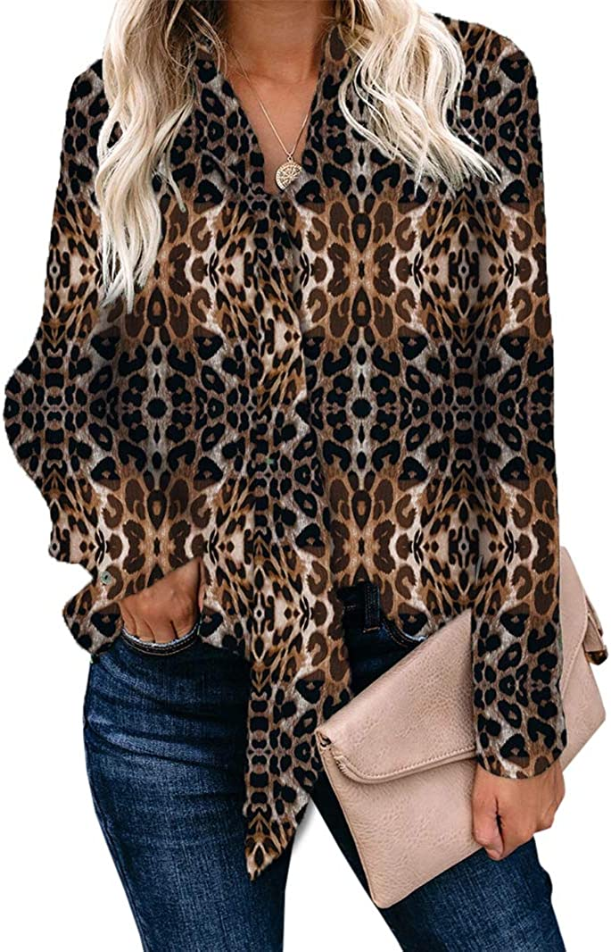 Ofenbuy Womens Leopard Print Long Sleeve Blouses Casual V Neck Chiffon Elegant Shirt with Tie