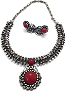 Traditional Oxidized Necklace/Choker with Red Stone Pendant and Matching Jhumkas Bollywood Style Ethnic Indian Jewellery