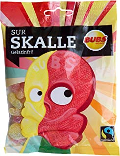 2 Bags x 90g of Bubs Godis Sur Skalle - Sur Skallar - Original - Swedish - Fruit - Sour Skull - Gelatine Free - Wine Gums - Candy