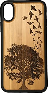 Birds in Flight Phone Case Cover for iPhone XR by iMakeTheCase | Eco-Friendly Bamboo Wood Cover + TPU Wrapped Edges | Swallows Nature Tree Fight Freedom Design.
