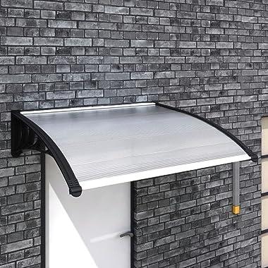 "INLIFE Window Door Awning Sun Shade Canopy,One-Piece Polycarbonate Transparent Sheet UV Rain Protection Outdoor 47""x39&#3"