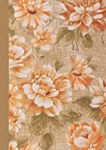 Aesthetic Notebook A4: Beautiful Lined Journal Notebook. 120 pages. Peach Roses on Linen Background. (Vintage Design Aesth...