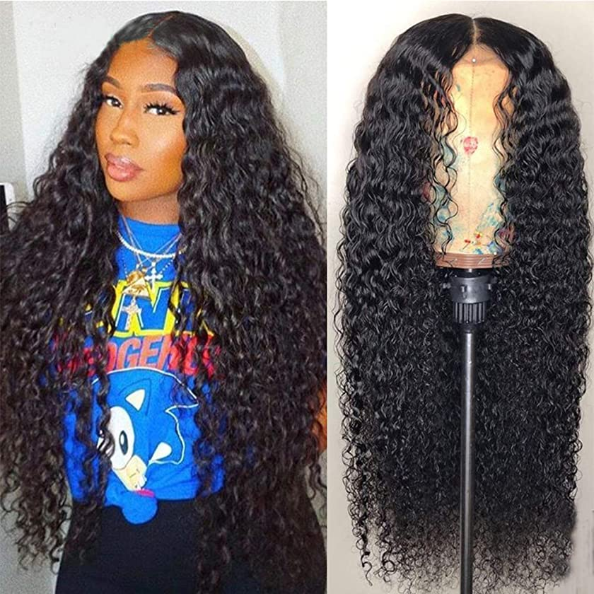 Maxine Hair Deep Curly Wave Human Hair Glueless Lace Front Wigs 130% Density Brazilian Virgin Remy Wigs with Adjustable Straps For Black Woman 24 inch Natural Black Color