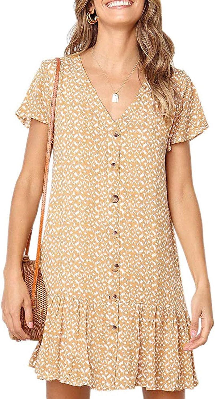 Fleur Wood Womens Polka Dot V Neck Button Down Ruffles Casual Loose Swing Short Mini T-Shirt Summer Dress for Beach Wedding