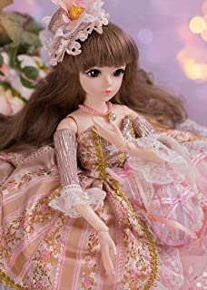 UCanaan BJD Doll, 1/3 SD Dolls 24 Inch 18 Ball Jointed Doll DIY Toys with Clothes Outfit Shoes Wig Hair Makeup, Best Gift for Girls - Elvira