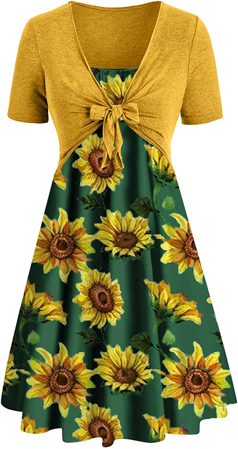 Women's Hawaiian Dresses Casual Tube Top Dress Women Summer Floral A Line Dresses with Short Sleeve Shawl